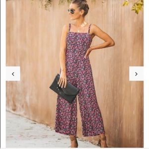 "Vici ""boysenberry"" floral jumpsuit"